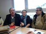 Conférence de presse du comité de défense de l'hôpital de Vernon, 7 janvier 2011. De gauche à droite : Jean-Luc Lecomte (élu PC), Annick Le Gac (élue PC), Jean-Claude Nicaise (président du comité).