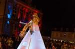 A l'arrière-plan, on peut observer les illuminations de Noël de la mairie de Vernon.