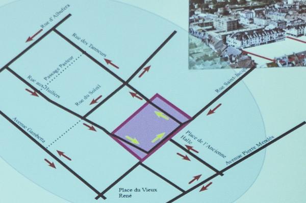 Les nouveaux sens de circulation et sens uniques des rues qui entourent la place.