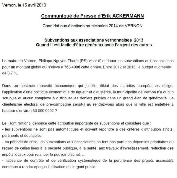 Le communiqué de presse envoyé le 15 avril par Erik Ackermann, le candidat du FN aux élections municipales de 2014 (mise à jour).